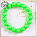 Bracelet with Swarovski pearls 10mm, Neon Green