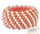 Bracelet with Swarovski pearls, Ivory and Coral