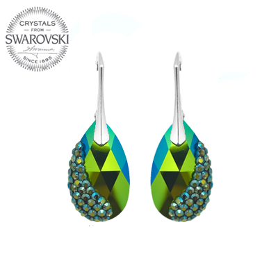e407872db Silver Earrings Pear Shaped 22mm - Scarabaeus Green - Import of ...